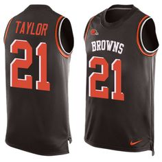 Men's Nike Cleveland Browns #21 Jamar Taylor Limited Brown Player Name & Number Tank Top NFL Jersey