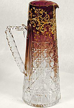 Moser Amethyst / Gold Cut Glass Pitcher