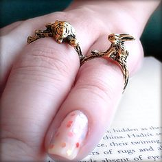"""Aesop's Fable """"Tortoise and the Hare"""" Double Finger Ring, Woodland Sculpture Rabbit and Turtle, Bronze, Whimsical, Two Finger Tiny Fairytale by OddModicum, $9.95"""