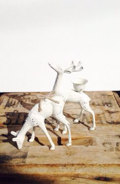 Upcycled White Shabby Chic Woodland Deer Candle Holder / Shabby Chic / French Country Christmas