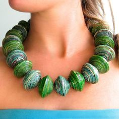 Chunky green + turqouise earring +necklace set, Ugandan recycled paper beads, big beaded necklace, colourful bead jewelry