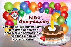 mensaje cristiano cumpleaños feliz Happy Birthday Pictures, Happy Birthday Quotes, Ideas Para Fiestas, Birthdays, Birthday Cake, Holiday, Desserts, Sony, Facebook