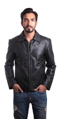 Mens Large Black Leather Jacket