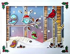 Lawn fawn Winter Sparrows, Making Frosty Friends, Joy to the Woods. Christmas card