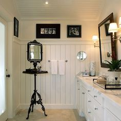 Beadboard Ceiling Design Ideas, Pictures, Remodel, and Decor - page 7 Beadboard Wainscoting, White Beadboard, Dining Room Wainscoting, Wainscoting Styles, Shiplap Bathroom, Wainscoting Panels, Wall Panelling, Wainscoting Nursery, Eclectic Bathroom
