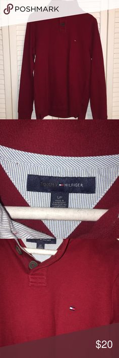 Tommy Hilfiger Knit Top Tommy Hilfiger Knit Top Red men's size small. 100% Cotton never worn in perfect condition. Tommy Hilfiger Sweaters
