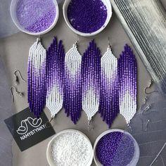 Violet pantone beaded earrings Purple earrings Ultra Violet earrings L… Beaded Earrings Patterns, Beaded Jewelry Designs, Seed Bead Patterns, Seed Bead Jewelry, Bead Jewellery, Seed Bead Earrings, Beading Patterns, Beading Ideas, Diy Jewelry