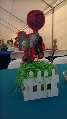 Items similar to Plants vs. Zombies centerpiece on Etsy Zombie Birthday Parties, Zombie Party, Thomas Birthday, Birthday Bash, P Vs Z, Holidays And Events, Party Gifts, Party Time, Centerpieces