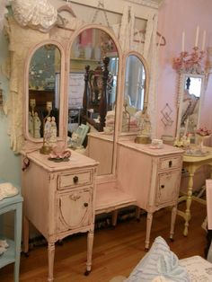 Vintage Shabby Chic Vanity Room, This is a tiny room off the bathroom that used to hold one bed. Description from pinterest.com. I searched for this on bing.com/images