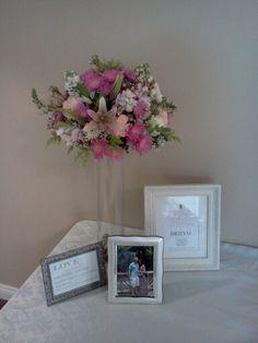 Wedding shower gift table fresh flower tower