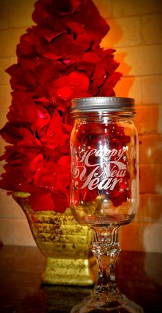 Set of 8 New Years Eve Etched Southern Wine Glass - AKA Redneck Mason Jar Wine Glass. $128.00, via Etsy.