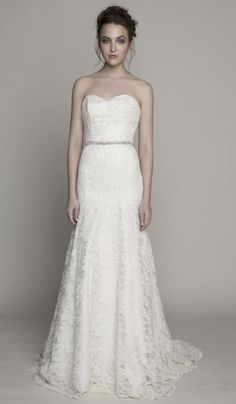 Isabelle strapless lace gown from the Spring 2014 collection by @Kelly Faetanini