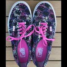New Hello Kitty Vans size 10 New, Never Worn, Hello Kitty Vans in size 10. Purchased from Nordstrom Rack. They have been sitting in my athletic shoe closet for far too long. And, I believe I'm a bit too old to be sporting Hello Kitty shoes! They are black with pink, purple, and white kitties. Soooooo CUTE! The only flaw is when I pulled off the Nordstrom Rack tags from the insides of the shoes. It took off some of the Van logo. Other than that, they are purrrrfect! As always, open to…