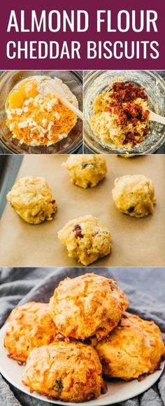 Almond Flour Biscuits (Keto, Low Carb) - Savory Tooth These fluffy bacon cheddar biscuits are quick and easy to make, and can be enjoyed for a savory breakfast, as a portable snack, or as a chee Biscuits Au Cheddar, Biscuits Keto, Almond Flour Biscuits, Almond Flour Recipes, Coconut Flour, Keto Flour, Keto Diet Breakfast, Savory Breakfast, Breakfast Recipes
