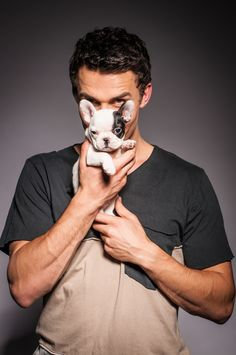 Actor Andrew Morley with French bull dog Luna. Photo by Lauren Smeaton
