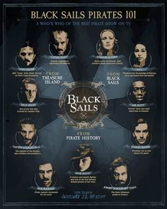 A who's who of the best pirate show on TV, Black Sails, a STARZ Original Series. Starz Series, Tv Series, Black Sails Starz, Black Sails Vane, Charles Vane Black Sails, Flint Black Sails, Pirate History, Golden Age Of Piracy, Captain Flint