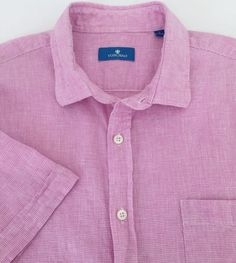 Toscano Linen Blend S/S Casual Shirt Men's Large Pink & White Houndstooth Check  #Toscano #ButtonFront