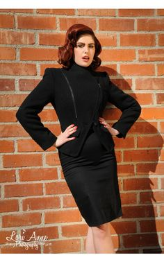 Pinup Girl Clothing- The Arlene Coat in Black Pinup Girl Clothing, Women's Coats, Pin Up Girls, Coats For Women, Girl Outfits, High Neck Dress, Clothes, Black, Dresses