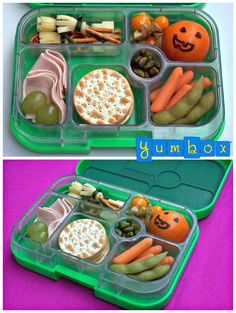 Halloween Yumbox prepared with a little help from my kids. Cheese brooms took some patience. But a bag of clementine oranges quickly turned into an army of scary looking pumpkin heads. #schoolLunch #bento #lunchforkids #packedlunch