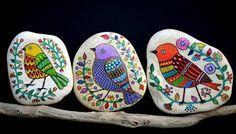 birds rocks, painted rocks, garden art