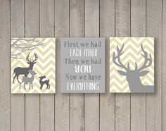 Deer nursery- Pick your colors - Chevron deer head - Now We Have Everything - Little Deer - Deer silhouette -baby boy nursery on Etsy, $21.00