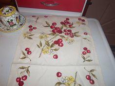 Vintage Kitchen Towel 50s Cherries Blossoms Cottage RED KITSCH EX cherry sweet
