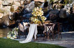 Summer wedding tablescape  [Photography] Sam Lim Studio [Location] Four Seasons Hotel, Westlake Village [Linens] Wildflower Linen [Rentals] Classic Party Rentals [Floral Design] Fascinare
