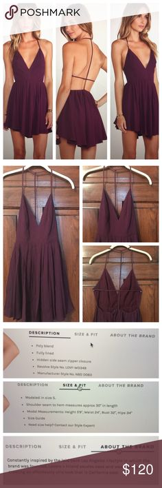 Jhene Aiko For Lovers And Friends Get Out Dress Worn once, perfect condition! Size Small. Color is Dark Purple. Above picture show model in size Small. Shell: 45% Rayon and 55% Viscose. Lining: 97% Polyester and 3% Elastane. Lovers + Friends Dresses Mini