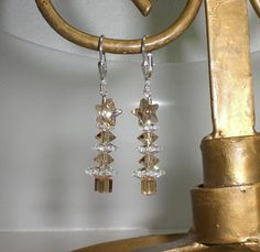Christmas Tree Champagne Crystal AB Star Earrings Made With Swarovski Elements