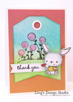 Thank you card by Vera Yates.  Stacey Yacula Studio stamps by Purple Onion Designs.