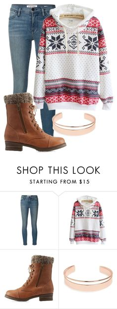 """""""Cristmas sweater"""" by emilytheunicorn1 ❤ liked on Polyvore featuring Frame Denim, Charlotte Russe and Leith"""