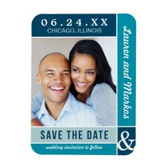 Wedding Save the Date Magnet | Blue Colorblock