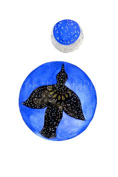 Fly to the Moon. Art print. Illustration by Toshisworld on Etsy, $10.00
