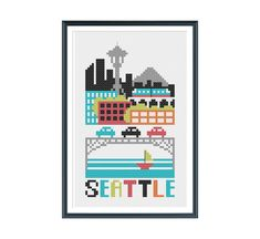 Seattle Cross Stitch Pattern Instant Download
