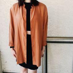 e234581ea4d Vintage Tops - Vintage silk copper color button down cardigan