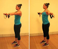 Grab your resistance band and try this standing reverse fly, which works your upper back and shoulders:  St...
