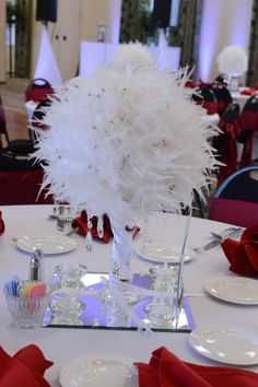 Wedding Lunch - Black & White Room | Feather centerpieces ...