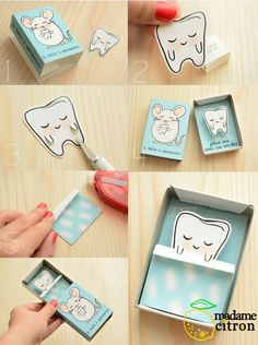 DIY: Make you own Tooth Fairy (match)Box, to keep your present ready to gift to the Tooth Fairy. Free Printable ♥⭐♥ DIY: des boîtes à quenottes par Madame Citron Matchbox Crafts, Matchbox Art, Kids Crafts, Diy And Crafts, Diy Paper, Paper Crafts, Tooth Box, Tooth Fairy Box, Papier Diy