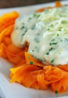 Carrot Pasta With Cauliflower Alfredo Sauce - Entire recipe is 448 calories. Soooo good!