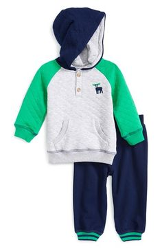 Little Me 'Moose' Hoodie & Pants (Baby Boys) available at #Nordstrom