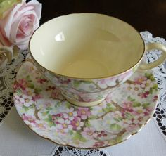 shelley chintz   Shelley Chintz Maytime displayed with roses and lace....just my cup of ...