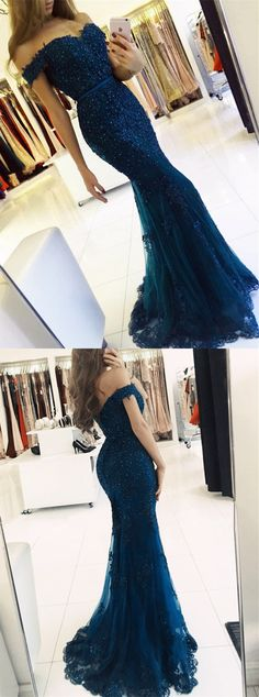 Navy Blue Lace Pearl Beaded Mermaid Off The Shoulder Prom Dresses 2018