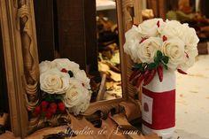 Ramo de flores de tela y de distintos materiales para novias únicas, personalizado y para  conservarlo Por Siempre Jamás algodondeluna@gmail.com o 606619349