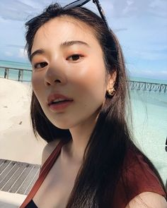Image may contain: one or more people, sky, child, outdoor and closeup Film Aesthetic, Aesthetic Girl, Natural Glowy Makeup, Asian Model Girl, Korean Girl Fashion, Poker Online, Girls Gallery, Asia Girl, Fantasy Girl