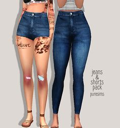 Lana CC Finds - jeans & shorts pack by Puresims