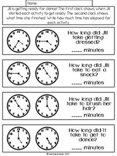 Elapsed Time Math Freebie by Learning 4 Keeps Second Grade Math, 4th Grade Math, Grade 3, Teaching Time, Teaching Math, Math Tutor, Maths, Math Math, Math Education