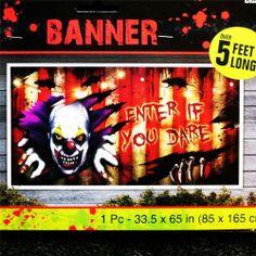 halloween party decorationpropkiller clown banner5ft longscene setter