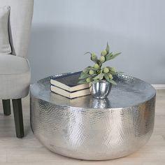 Coffee Table Milano Aluminium . Polished Hammered Optics Round Shape
