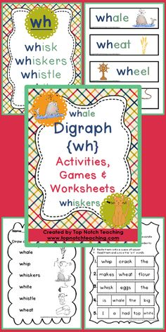 Help your students learn the digraph /wh/ with these fun and engaging activities, games and worksheets. $ http://www.teacherspayteachers.com/Product/Digraph-Activities-Games-Worksheets-wh-909955