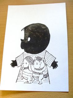 """Third of four """"Jip and Janneke""""-styled cards I made for my nephew´s first birthday: His monster-shirt."""